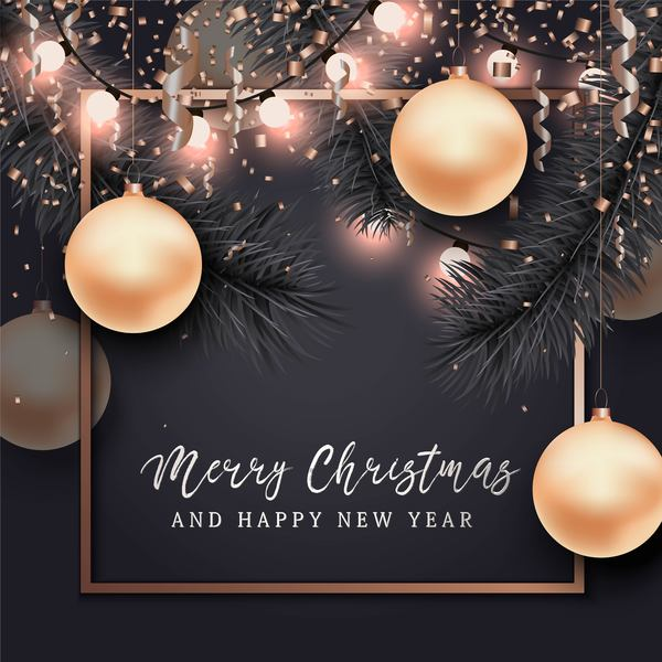 Christmas with 2018 ney year background and baubles vector 01