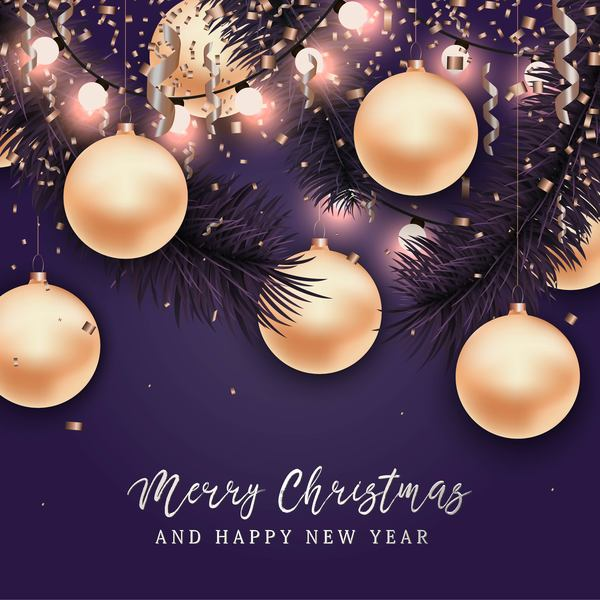 Christmas with 2018 ney year background and baubles vector 03