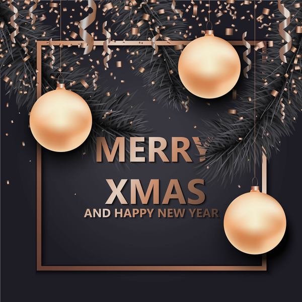 Christmas with 2018 ney year background and baubles vector 06