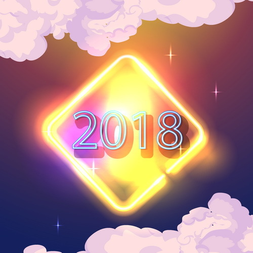 Cloud with shiny 2018 new year background vector