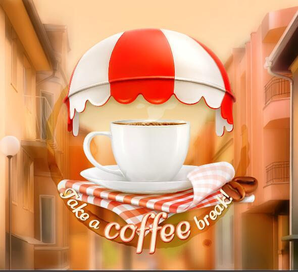 Coffee labels with blurs street background vector 01