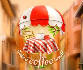 Coffee labels with blurs street background vector 03