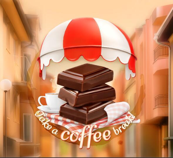 Coffee labels with blurs street background vector 04