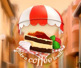 Coffee labels with blurs street background vector 06