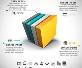 Colored 3D business infographic vector