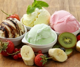 Colored balls of ice cream with fruit Stock Photo