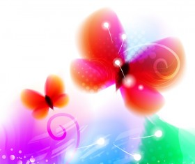 Colored butterflies dream vector 02