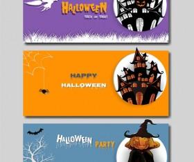 Colored halloween banner vectors set