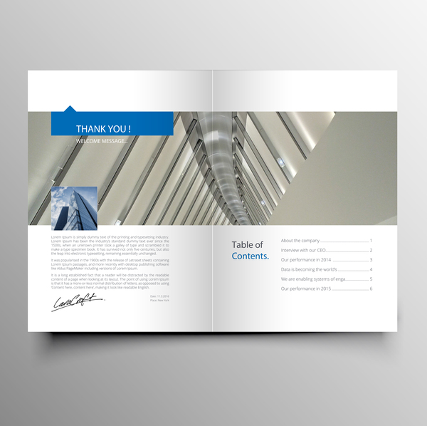 Company magazine with brochure cover template vector 03