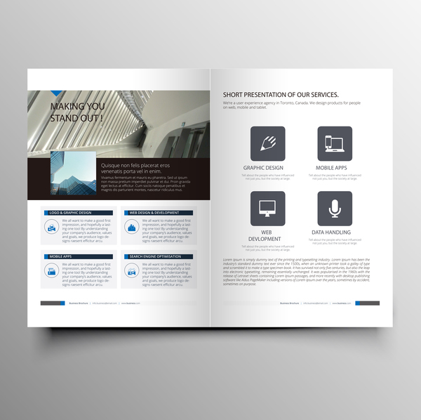 Company magazine with brochure cover template vector 04