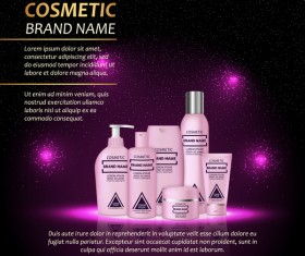 Cosmetic advertising poster template purples styles vector 01