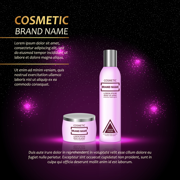Cosmetic advertising poster template purples styles vector 02