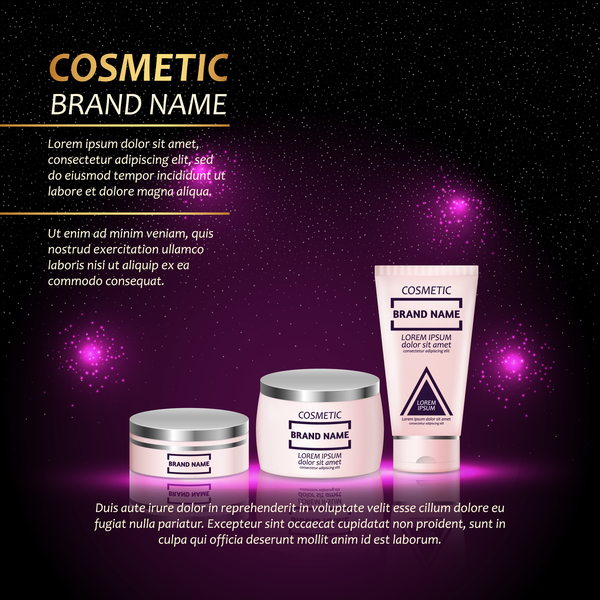 Cosmetic advertising poster template purples styles vector 03