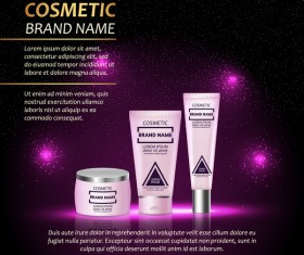 Cosmetic advertising poster template purples styles vector 04