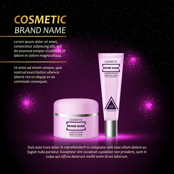 Cosmetic advertising poster template purples styles vector 05