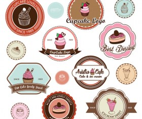 Cup cake badge with labels retro vector 01