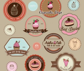 Cup cake badge with labels retro vector 02