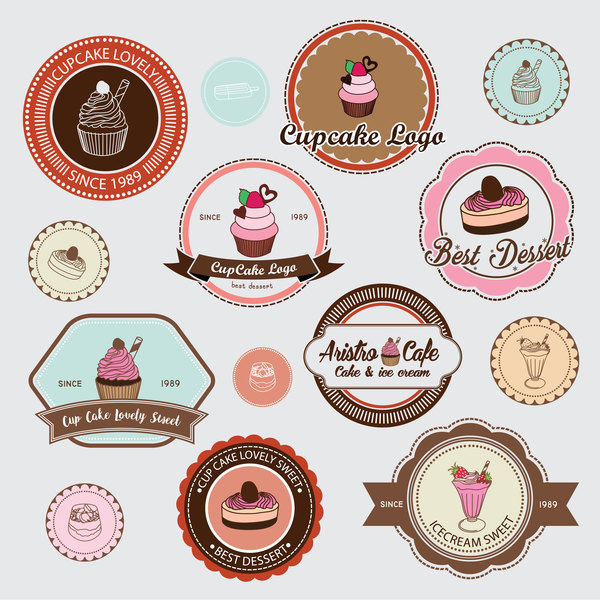 Cup cake badge with labels retro vector 03