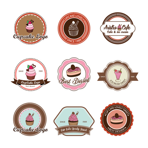 Cup cake badge with labels retro vector 04