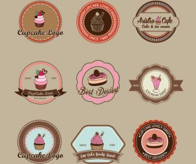 Cup cake badge with labels retro vector 05