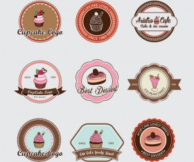 Cup cake badge with labels retro vector 06
