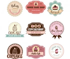 Cup cake badge with labels retro vector 07