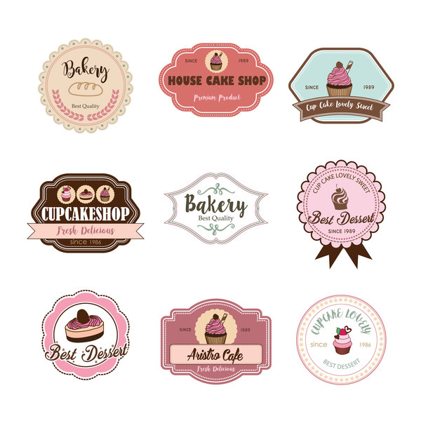 Cup cake badge with labels retro vector 08