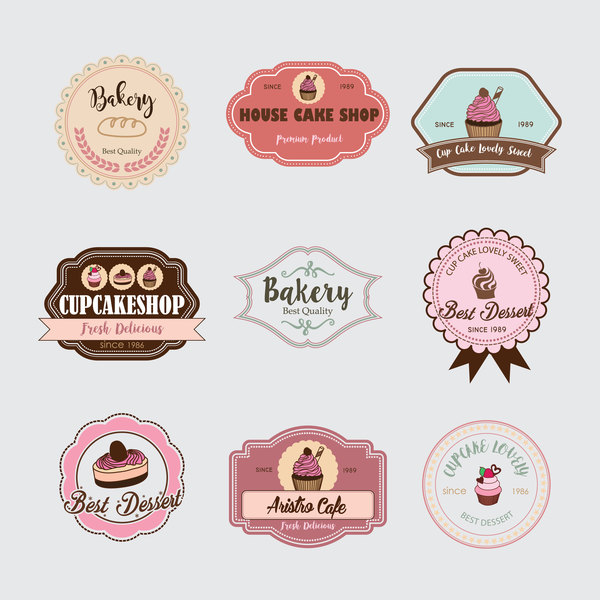 Cup cake badge with labels retro vector 09