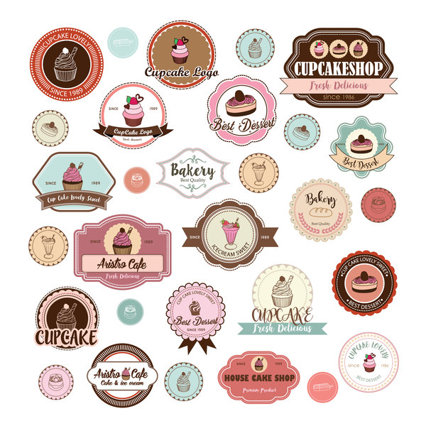 Cup cake badge with labels retro vector 10