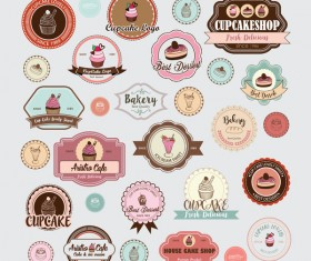 Cup cake badge with labels retro vector 11