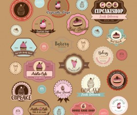 Cup cake badge with labels retro vector 12