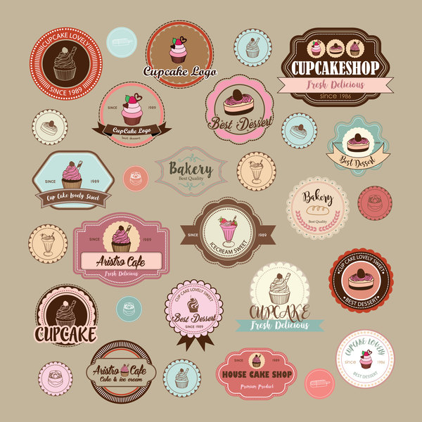Cup cake badge with labels retro vector 13