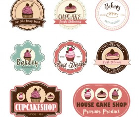 Cup cake badge with labels retro vector 14