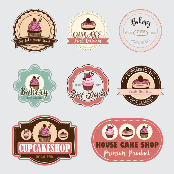 Cup cake badge with labels retro vector 15