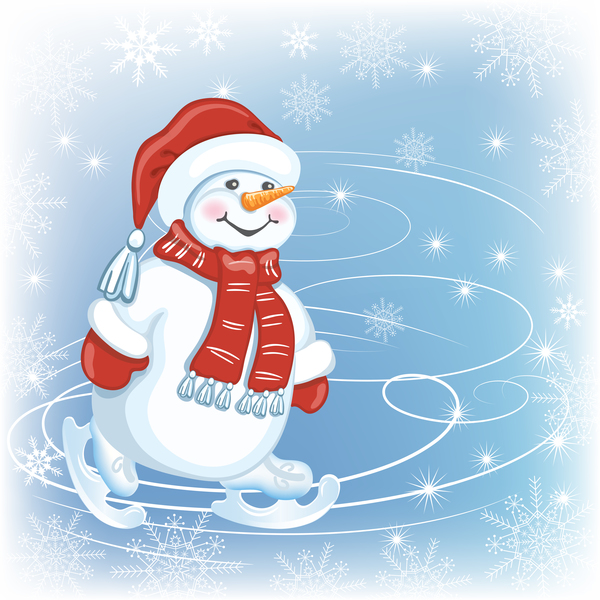 Cute christmas snowman vector design 01