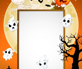 Cute kids with halloween blank background vector 01