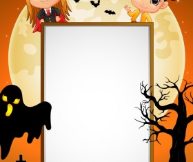 Cute kids with halloween blank background vector 02