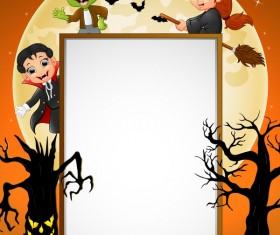 Cute kids with halloween blank background vector 03