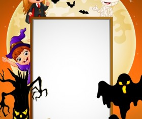 Cute kids with halloween blank background vector 04