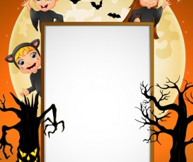 Cute kids with halloween blank background vector 05