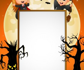 Cute kids with halloween blank background vector 06