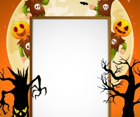 Cute kids with halloween blank background vector 07