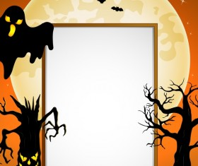 Cute kids with halloween blank background vector 08