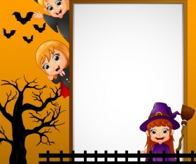 Cute kids with halloween blank background vector 09