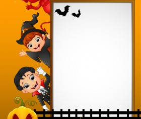 Cute kids with halloween blank background vector 10
