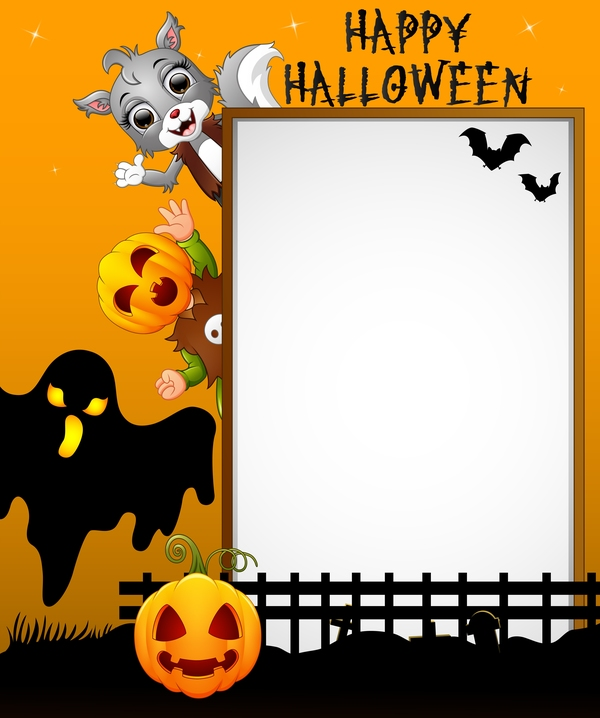 Cute Kids With Halloween Blank Background Vector 11