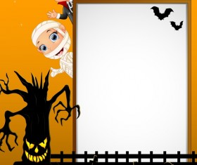 Cute kids with halloween blank background vector 12