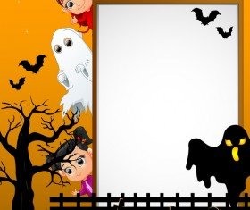 Cute kids with halloween blank background vector 13