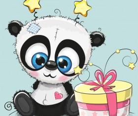 Cute panda happy birthday card vector 01