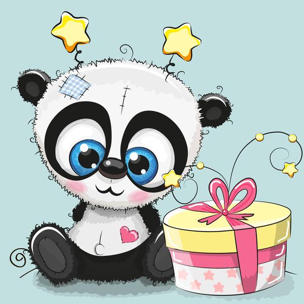 Cute Panda Happy Birthday Card Vector 01 Free Download